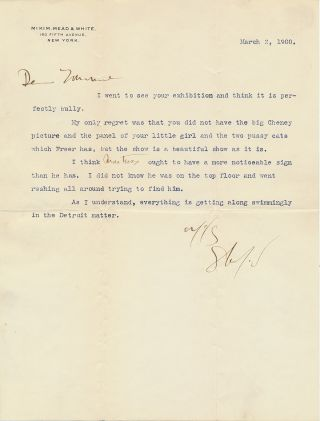 "Typed Letter Signed on ""McKim, Mead & White"" stationery, 4to, New York, March 2, 1900. STANFORD..."