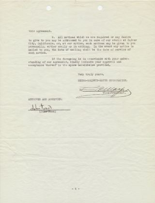 Document Signed by Ford and Mayer as Vice President of MGM studios, a contract between Ford and...