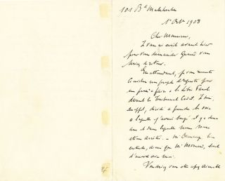 Rare Autograph Letter Signed referring to the Dreyfus Affair, in French, 2 pp on one 8vo sheet...