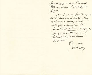 "Rare Autograph Letter Signed referring to the Dreyfus Affair, in French, 2 pp on one 8vo sheet (pages 1 and 3), October 1, 1908, Paris. With copy of ""La Revision du Proces Dreyfus/Debats de la cour de cassation/deuxieme partie/Conclusion de M. le procurer general Manau, 30-31 Mai, 1899, Paris, P.-V, Stock, editeur, 1899,"" paper cover, 135 pages. The booklet also contains copies of much of Dreyfus' correspondence regarding his innocence. Brittle and sunned, overall poor condition."