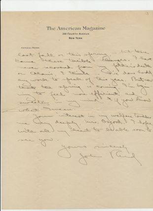 """Rare Autograph Letter Signed, from the Paul Richards Collection, 3 pp, two of which are on """"The American Magazine, New York"""" letterhead, 4to, with holograph envelope, New York, March 11, no year, but 1913 or 1914."""