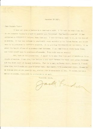 Typed Letter Signed, large 4to, [Sonoma, California} Dec. 22, 1910. JACK LONDON