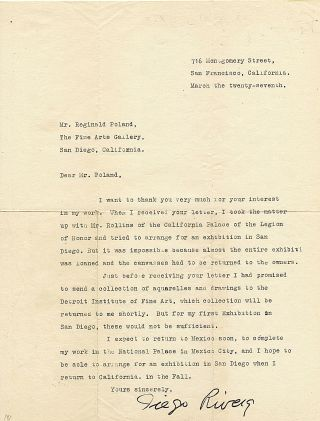 Typed Letter Signed, large 4to, San Francisco, March 27, n.y. Although undated as to year, this letter, to Mr. Reginald Poland, Director of The Fine Arts Gallery, San Diego (1925-1950), was written in 1931.