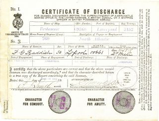 """Certificate of Discharge"" from the ""Britannic"" Scarce Document Signed by the ""Millionaire's Captain"" of the RMS Titanic early in his career, 8vo, Liverpool, March 1, 1895. EDWARD SMITH."