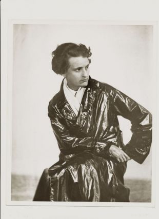 Modern Print Signed by Abbott on verso, 10 x 8, of Sylvia Beach in her long dark trench coat...