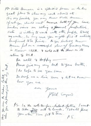 Autograph Letter Signed, 2 pp on one 4to sheet of printed personalized stationery, Bridgewater, CT., Oct. 27, 1965.