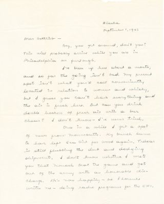 Autograph Letter Signed, two separate 4to pages, Alaska, Sept. 1, 1943; with envelope including signature in the return address. SAMUEL DASHIELL HAMMETT.