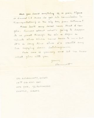Autograph Letter Signed, two separate 4to pages, Alaska, Sept. 1, 1943; with envelope including signature in the return address.