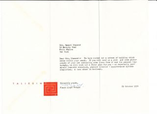 Typed Letter Signed on red emblematic Taliesin stationery, horizontal 4to, October 24, 1954,...