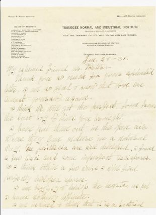 "Autograph Letter Signed, 2pp on one sheet of ""Tuskegee Normal and Industrial Institute""..."