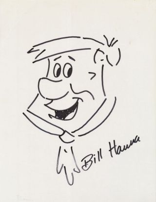 Original Signed Drawing of Fred Flintstone, on card stock, approximately 8 x 10, n.d. WILLIAM...