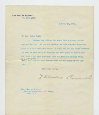 Typed Letter Signed as President with holograph correction, on White House stationery, 1 page 4to folded sheet, Washington, D. C., October 14, 1905. THEODORE ROOSEVELT.
