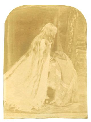 Strikingly rare image of an early Victorian woman with loose hair photographed between 1843 and...
