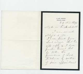 Autograph Letter Signed geologist Archibald Geikie, 2pp on small 8vo black bordered mourning stationery, Portland Place, Nov. 29, 1898.