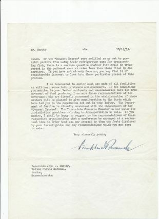 Fish can be transported in meat trucks. Typed Letter Signed, on White House stationery bearing...