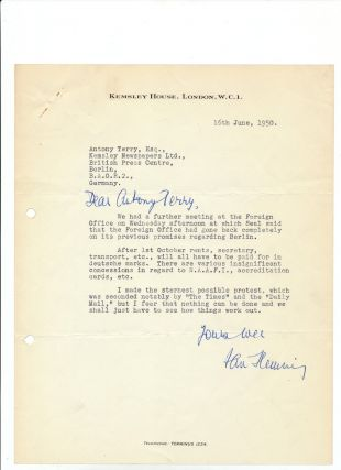 "Typed Letter Signed with holograph additions, on 4to ""Kemsley House,"" London, June 16, 1950...."