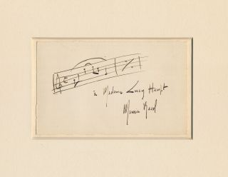 Scarce Autograph Musical Quotation Inscribed and Signed, on post card size card attached to a...