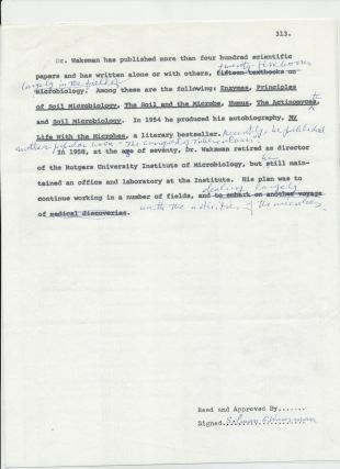 Typed Document Signed, biographical content, with many holograph annotations, 4 separate 4to pages, ca 1971; Two Typed Letters Signed, on Rutgers University stationery, each 4to, August 1, 1966, and October 1, 1971.