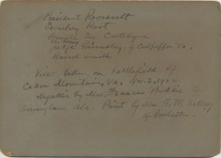 Photograph with President Roosevelt and others, described and dated on verso, 1902.