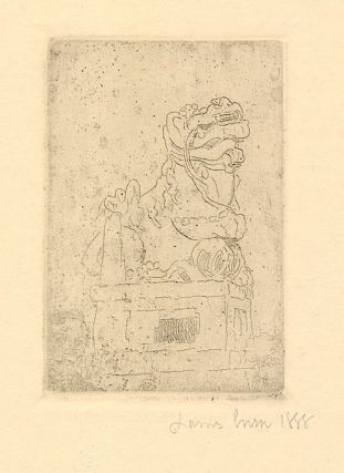 """""""La Chimere,"""" zinc engraving fully signed and dated """"James Ensor 1888,"""" in pencil. According to Albert Croquez catalog of Ensor engravings (1947) , the head in the lower left corner is that of Rousseau's son. The image measures about 2 x 3 inches on a 4to sheet, 4to, From the collection of Augusta Bogaerts, life long friend of Ensor. The artist's name """"Ensor'' is written in pencil along the verso imprint. Exceptional in association and fine condition."""