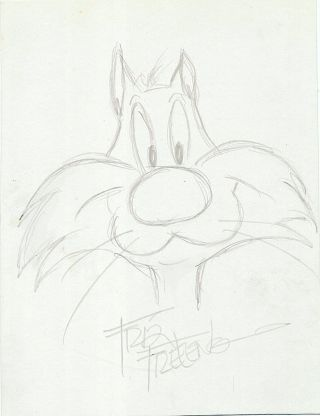 "Original Drawing Signed of Sylvester the Cat, in pencil, 8vo. ISADORE ""FRIZ"" FRELENG"