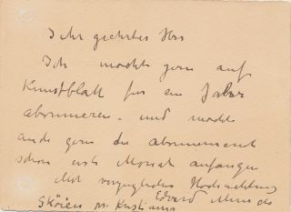 "Scarce Autograph Letter Signed, in German, on small 8vo stationery card, ""Sköien near Kristiania,"" n.d. but most likely late 1916."