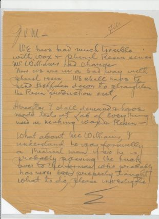 "Autograph Letter Signed, 4to on lined notebook paper, n.p., n.d. but likely 1913-1917. ""File"" in written across top of page. THOMAS ALVA EDISON."