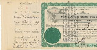 Document Signed, oblong folio, March 2, 1928. United Artists Studio Corporation Stock Certificate.