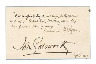 Autograph Quotation Signed, on post card size stationery card , n.p., Sept. 15, 1919. JOHN...