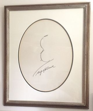 Original Signed Drawing, exceptional in size, framed in an oval mat with silvered wood, approximately 14 x 16 inches.