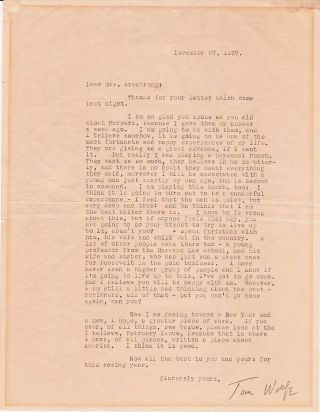 Rare Typed Letter Signed, 4to, np but likely New York, Dec. 27, 1937.