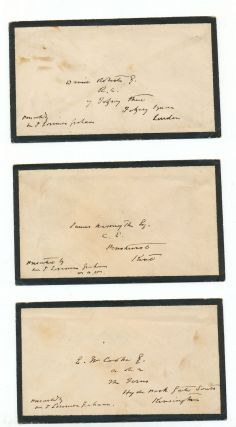"Archive of three Autograph Letters Signed, two to fellow painters, David Roberts and Edward William Cooke and one to engineer, inventor and artist, James Nasmyth, each on blind embossed ""Royal Scottish Academy of Painting & Sculptor"" folded stationery, 8vo, Edinburgh, each dated July 17, 1862, and each with Royal Scottish Academy envelope bearing the Academy's embossed emblem."