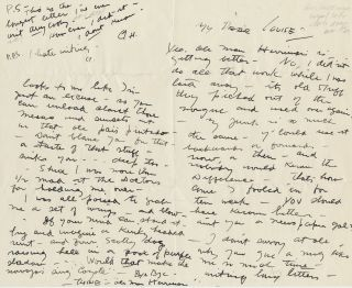 Rare Autograph Letter Signed to Louise Swinnerton, 2pp on one 8vo sheet, penned on first and last...
