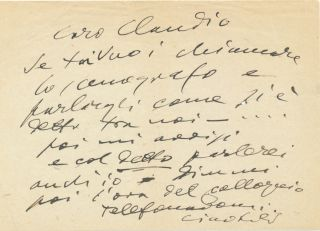 Autograph Letter Signed, in Italian, 8vo, n.p., n.d