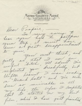 "Autograph Letter Signed ""Puss,"" and referencing ""Grand Hotel,""on ""Metro-Goldwyn-Mayer..."