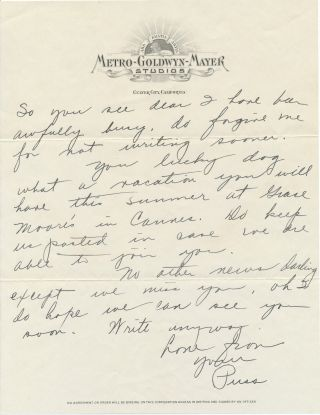 "Autograph Letter Signed ""Puss,"" and referencing ""Grand Hotel,""on ""Metro-Goldwyn-Mayer Studios"" stationery, 2 separate pp, Culver City on stationery, n.d but ca 1931. With transmittal envelope in Crawford's hand on MGM stationery."