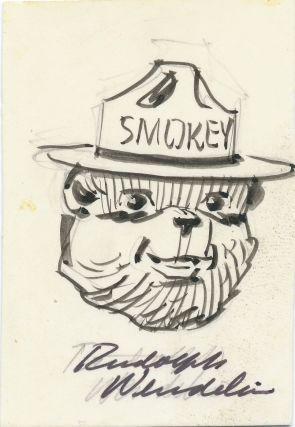 Original pen and ink Signed Drawing, showing the smiling face of Smokey the Bear, on a card...
