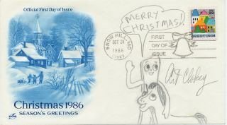 "Original Signed Drawing, in pencil, on First Day Cover honoring Christmas 1986, issue stamp, ""Snow Hill, MD, Oct. 24, 1986."" ART CLOKEY."