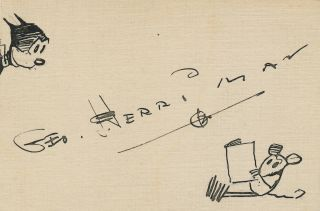 Krazy Kat and Ignatz. Signed drawing on hand cut slightly uneven 12 mo card stock, about 3 x 4, ...