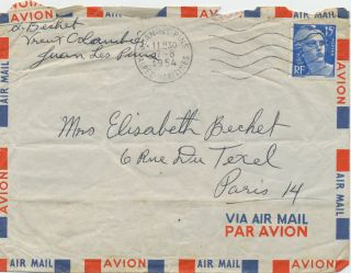 Autograph Letter Signed, 2pp on 2 separate 8vo air mail sheets of thin paper, with signed air mail envelope postmarked, Juan les Pins, Alpes Maritimes, Aug. 7, 1954.