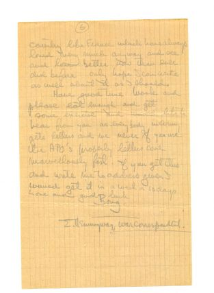 Rare War time Autograph Letter Signed to Martha Gellhorn, 6 separate 8vo pp of tan graph paper, August 6, 1944. This letter is one of a handful of surviving Hemingway letters to Gellhorn. According to her son Sandy Gellhorn, some months before her death in 1998, Martha burned most of her correspondence files, including her letters from Hemingway. Sandy was able to interrupt the process, saving this letter from destruction.