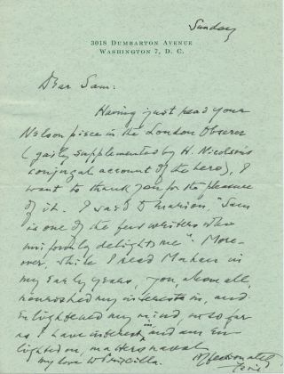 Autograph Letter Signed while Supreme Court Justice, on personal stationery, 8vo, Washington, D. C. , Sunday ca 1940s. FELIX FRANKFURTER.