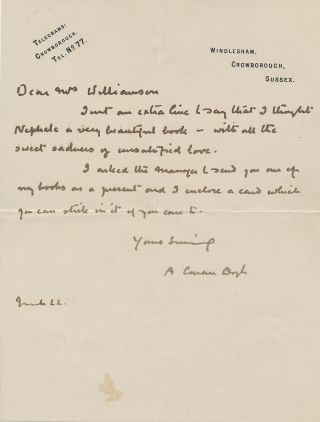 Autograph Letter Signed, on personal printed 8vo stationery, Sussex, March 22, ca 1920s. ARTHUR CONAN DOYLE.