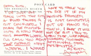 Uncommon Autograph Letter Signed, on art reproduction post card of a Thomas Eakins painting., postmarked New York, New York, Jan. 9, 1968. JASPER JOHNS.