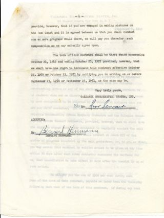 "Typed Document Signed, 4 pages 4to, on ""Columbia Broadcasting System"" stationery, New York, Sept. 9, 1949"