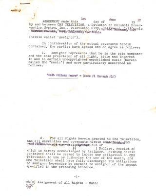 Typed Document Signed, 5 pp, Hollywood, CA, June 1, 1957. BERNARD HERRMANN