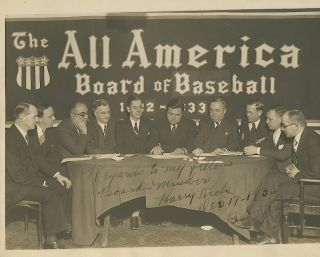 "Superb and Unusual Signed and Inscribed Photograph of the All America Board of Baseball, 4to ( 8 x 10 inch) gelatin silver print, Dec. 17-1933. BABE RUTH, George Herman ""Babe"" Ruth Jr."
