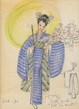 "Costume Sketch Signed, in color, identified on verso, ""Betty Grable in 'Call Me Mister' 1951.""..."