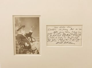 "Autograph Letter Signed mentioning ""Leaves of Grass"", on post card, Camden, New Jersey, Feb. 18, 1888."