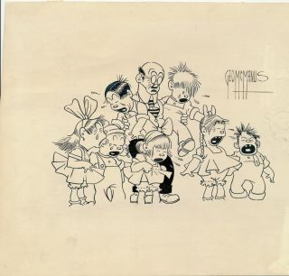 Sketch signed, pen and ink, of eight characters with Snookums drawn in pencil peeping in from...